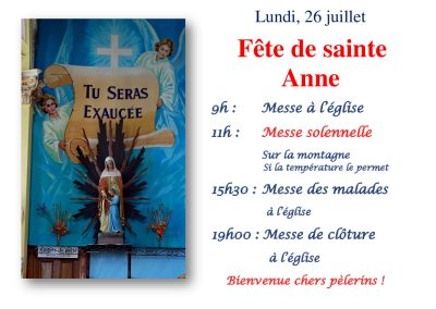 Affiche horaire fête Sainte Anne, paroisse Sainte-Famille de Valcourt